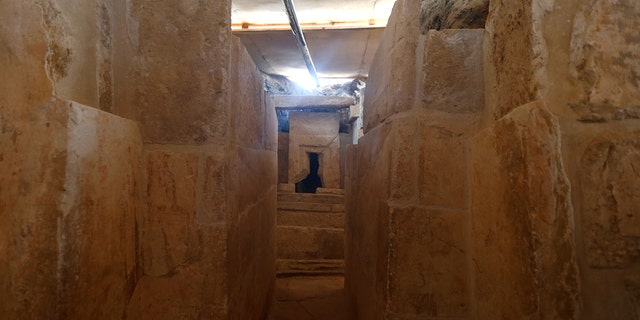 The discovery of an Old Kingdom tomb from Egypt's antiquities authorities is seen at the Giza plateau, the site of the three ancient pyramids on the outskirts of Cairo, Egyp