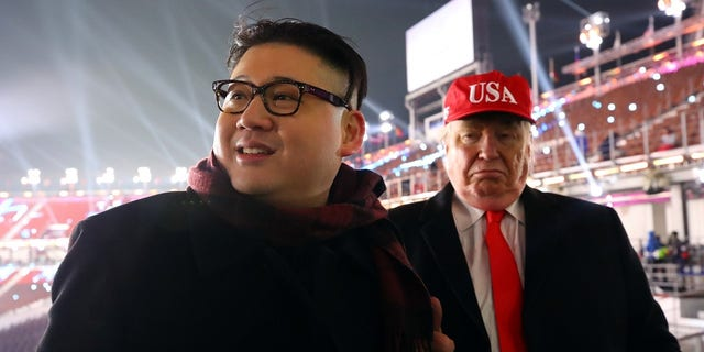 """The """"Kim"""" lookalike and a President Trump impersonator were first seen at the Winter Olympics opening ceremony."""