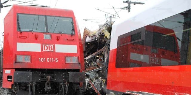 One of the train was pictured with its side completely torn away.