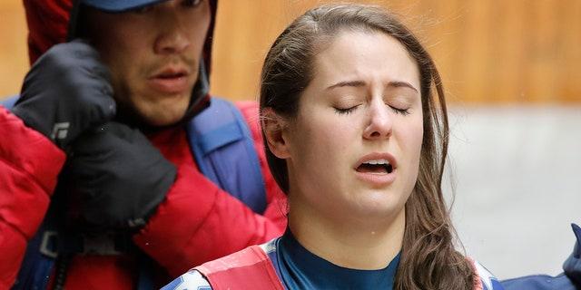 """Emily Sweeney said she was """"fine"""" after the crash. She was taken to a hospital as a precautionary measure."""