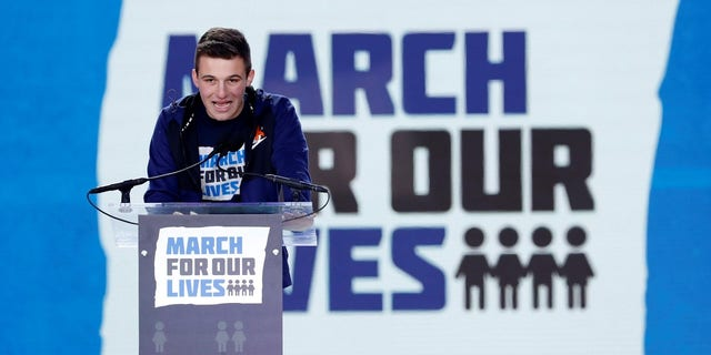 Cameron Kasky speaking at the March for Our Lives in Washington, D.C.