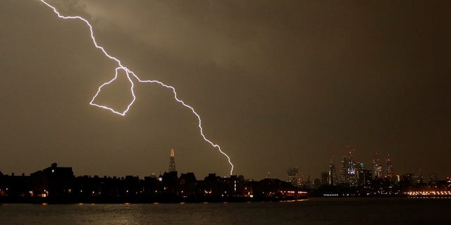 More than 60,000 lightning strikes were recorded in Britain between Saturday and Sunday.