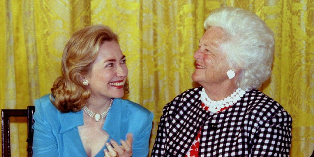 "Before Barbara Bush died, former first lady and Secretary of State Hillary Clinton thanked her for ""her many kindnesses to me and my family."""