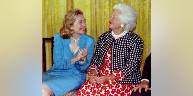 """Before Barbara Bush died, former first lady and Secretary of State Hillary Clinton thanked her for """"her many kindnesses to me and my family."""""""