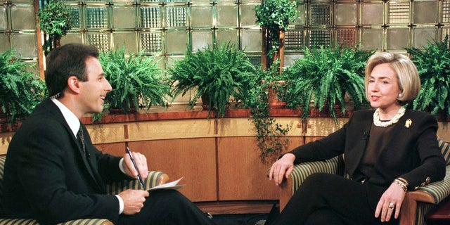 """Then-first lady Hillary Clinton spoke with Matt Lauer during an interview on NBC's """"Today"""" program."""