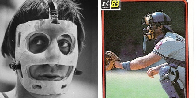 NBA all star Rudy Tomjanovich, (l.), wore a facemask after a devastating injury from a punch during a 1977 game, and Steve Yeager, a former catcher for the Los Angeles Dodgers, had a customized throat protecter made for him after a broken bat pierced his neck in a 1976 game. (AP, Donruss)