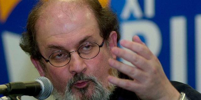 FILE 2003: Indian-born writer Salman Rushdie, author of 'The Satanic Verses' speaks at a book fair in Rio de Janeiro.