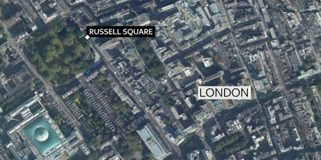 Russell Square is located near the British Museum (bottom left) in central London