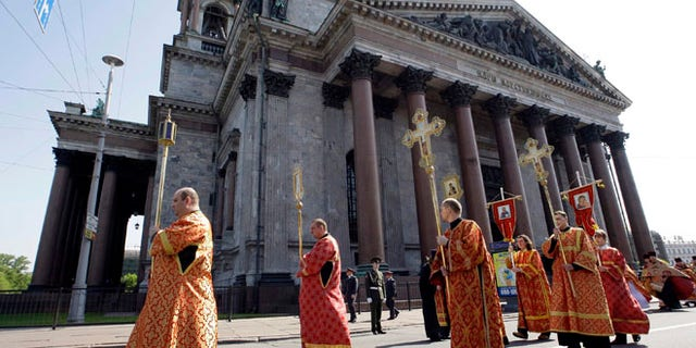 A religious procession leaves St. Isaac's Cathedral in 2009.