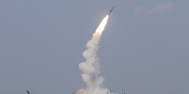 The S-300 air defence system launches a missile during the International Army Games 2016 at the Ashuluk military polygon outside Astrakhan, Russia, August 7, 2016.