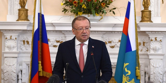 Russian ambassador Alexander Vladimirovich Yakovenko speaking at a news conference Thursday March 22, 2018, at his country's embassy in London.