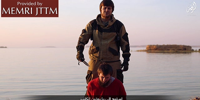 The video showing the beheading is believed to have come from the terrorist group's stronghold in Raqqa, Syria, where the Russian military has conducted devastating air attacks in recent weeks.