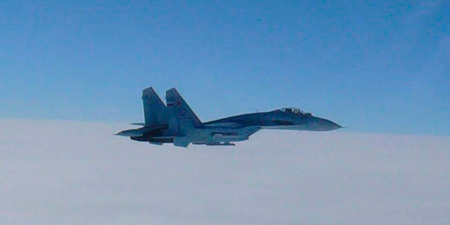 A Russian Su-27 fighter as seen in this handout photo, which buzzed a U.S. military spy plane in the Baltic Sea on Tuesday.