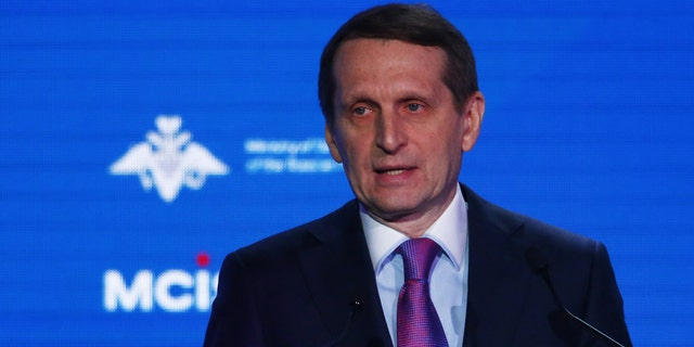 Sergey Naryshkin, the head of Russia's foreign intelligence agency, delivers a speech during the annual Moscow Conference on International Security in Moscow, Russia April 4, 2018.