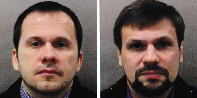 This combination photo made available by the Metropolitan Police on Wednesday Sept. 5, 2018, shows Alexander Petrov, left, and Ruslan Boshirov