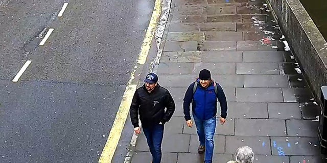 The two suspects are seen in Salisburg on March 4, the day the Skripals were poisoned.