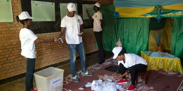Vote count starts at a polling station in Rwanda's capital Kigali Friday Aug. 4, 2017 for the presidential elections.