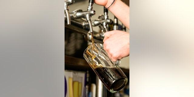 Beer pouring in beer bar