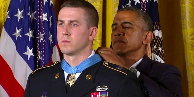 July 21, 2014: President Obama bestows the Medal of Honor on former Army Staff Sgt. Ryan M. Pitts.