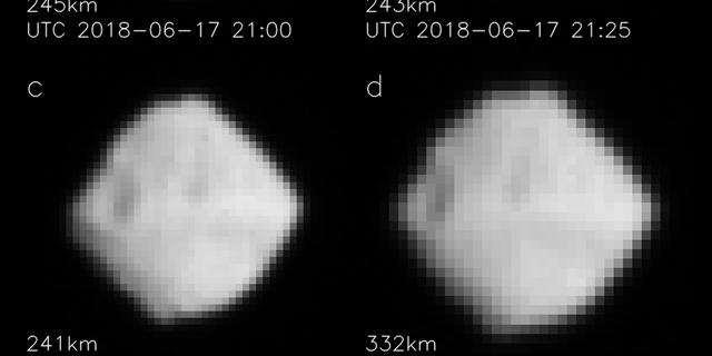 Images of Ryugu taken with the ONC-T. These photographs were taken on June 17, 2018 at around 15:00 and June 18 at around 06:00 JST. (ONC team: JAXA, University of Tokyo, Koichi University, Rikkyo University, Nagoya University, Chiba Institute of Technology, Meiji University, University of Aizu and AIST)