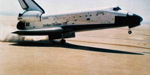 On April 14, 1981, Columbia touched down at Edwards Air Force Base.