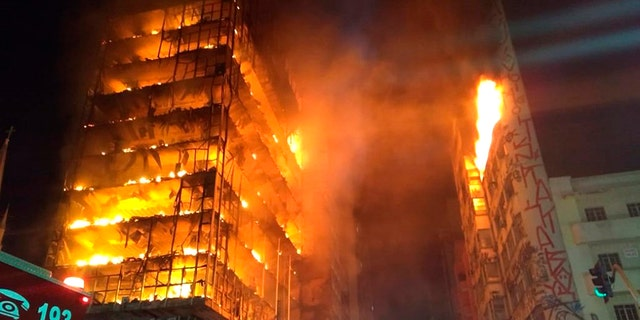 A fire broke out at an abandoned building in downtown Sao Paulo on Tuesday.