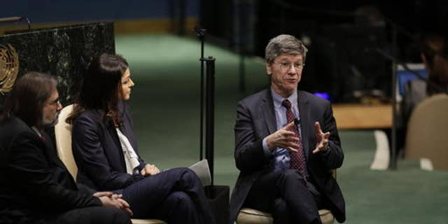 Columbia University professor Jeffrey Sachs, right, addresses the United Nations High-level Thematic Debate on Achieving the Sustainable Development Goals, April 21, 2016, at U.N. headquarters. (AP Photo/Mark Lennihan)