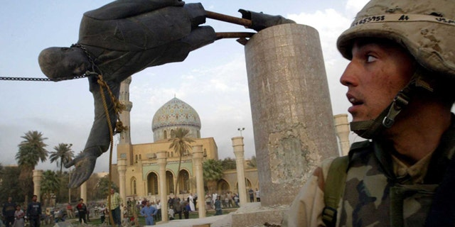 The toppling of the Saddam Hussein statue in Baghdad, 2003