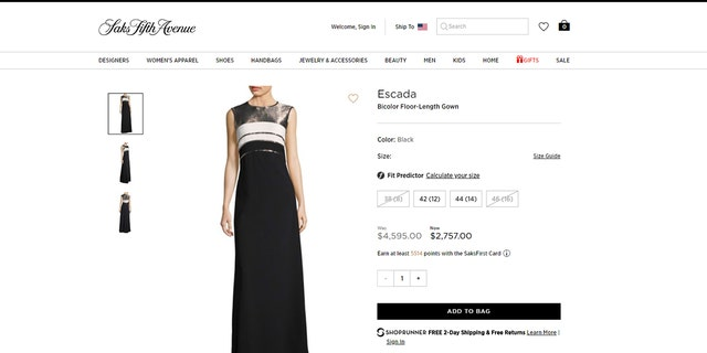 The Escada gown Melania Trump wore to Sunday's Ford's Theater gala is selling for over $2,700 at Saks Fifth Avenue.