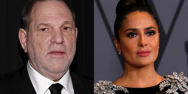"Salma Hayek (right) called Harvey Weinstein ""my monster"" in an essay last year where she detailed alleged abuse at the hand of the movie mogul on the 2002 set of ""Frida."""