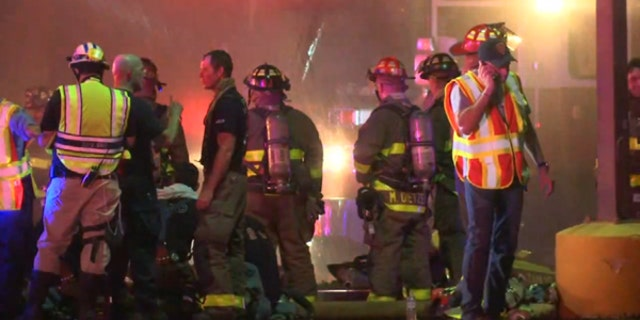 A firefighter died battling a blaze in a shopping center in San Antonio Thursday night.