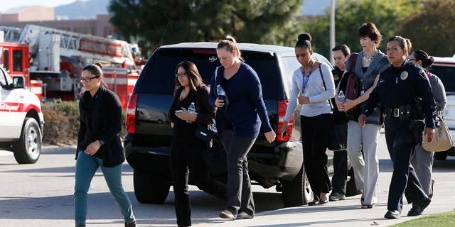 Workplace shooting like the one above in San Bernardino, Calif., where 14 people were killed and 22 injured in 2015, have prompted more and more businesses to train their employees on how to respond to a mass shooter.