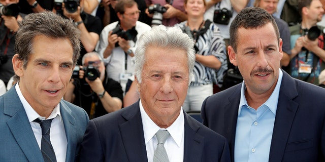 "Ben Stiller, Dustin Hoffman and Adam Sandler at the photocall for ""The Meyerowitz Stories"" at the Cannes Film Festival."