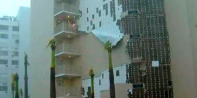 Damage in San Juan, Puerto Rico as Hurricane Maria makes landfall.