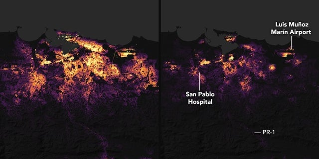 These nighttime satellite images show Puerto Rico's largest city, San Juan, before and after Hurricane Maria made landfall on Sept. 20. The images capture areas where residents have lost power; emergency responders can use the pictures.