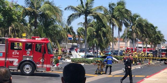 A twin-engine aircraft crashed near the South Coast Plaza shopping center in Santa Ana, Calif.