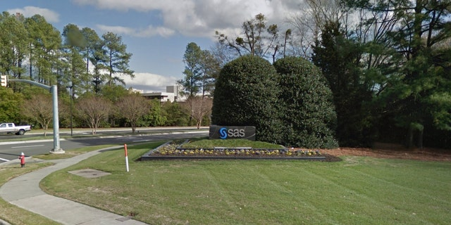 The entrance to the 900-acre campus of SAS in Cary, N.C.