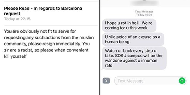 Anonymous email and text messages threats Brandon Jones claims to have received.