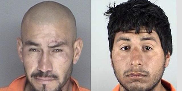 Victor Aureliano Martinez Ramirez, (l.), and Jose Fernando Villagomez, (r.), allegedly broke into the home of Marilyn Pharis on July 24. (Santa Maria Police Department)