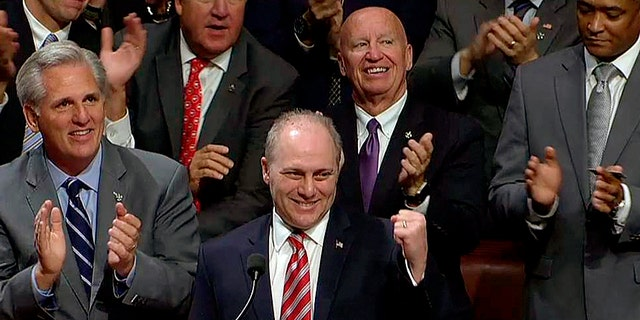 Sept. 28, 2017: House Majority Whip Steve Scalise, R-La., returns to the House floor, for the first time since he was badly wounded in a June shooting.