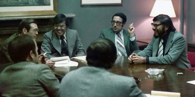 Fernando De Baca, center, is shown meeting with Ford's Chief of Staff Donald Rumsfeld and civil rights leaders.