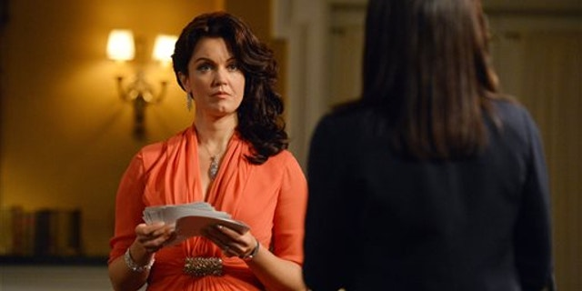 """This photo released by ABC shows, Bellamy Young, left, as Mellie Grant, and Kerry Washington, as Olivia Pope, in an episode """"We Do Not Touch the First Ladies,"""" of the TV series, """"Scandal,"""" Thursday, March 6, 2014, 10:00-11:00 p.m., ET on the ABC Television Network."""