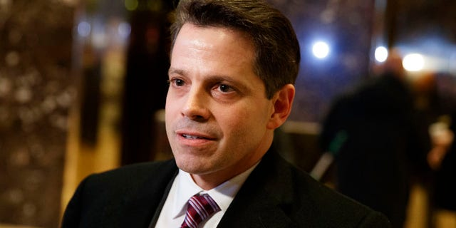 FILE - In this Jan. 13, 2017 file photo, Anthony Scaramucci, a senior adviser to President-elect Donald Trump, talks to reporters in the lobby of Trump Tower in New York. CNN isn't commenting Monday, June 26, as to what led it to retract a story about a supposed investigation into a pre-inaugural meeting between an associate of Trump and the head of a Russian investment fund. The story posted Thursday on CNN's website said Senate investigators are looking into the meeting between Scaramucci and Kirill Dmitriev, whose Russian Direct Investment Fund guides investments by U.S. entities in Russia. Scaramucci, in the story, said he exchanged pleasantries in a restaurant with Dmitriev. (AP Photo/Evan Vucci, File)