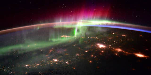 """NASA astronaut Scott Kelly and ESA astronaut Tim Peake shared a series of aurora photographs taken from the International Space Station on Jan. 20, 2016. Kelly wrote, """"#goodmorning #aurora and the Pacific Northwest! #YearInSpace"""" and Peakefollowed up with, """"Getting a photo masterclass from @StationCDRKelly – magical #aurora"""""""