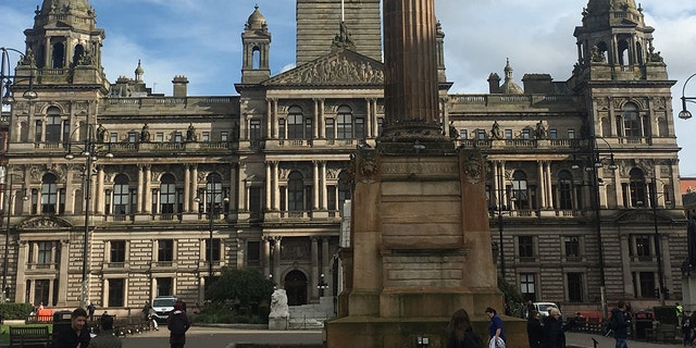 George Square, in Glasgow, is where the City Chambers are located, and is surrounded by beautiful architecture.
