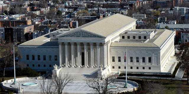 Dec. 19, 2013: A view of the Supreme Court from near the top of the Capitol Dome on Capitol Hill.