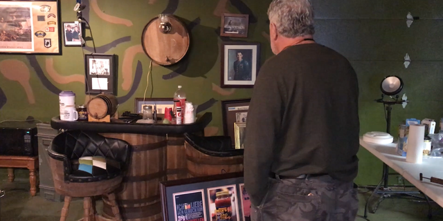 Gerald Hege displays his accomplishments on the walls of his bunker. Lexington, N.C.