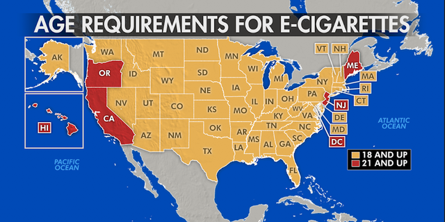 Five states and Washington, D.C. prohibit the sale of e-cigarettes to anyone under 21 years old, according to the CDC.
