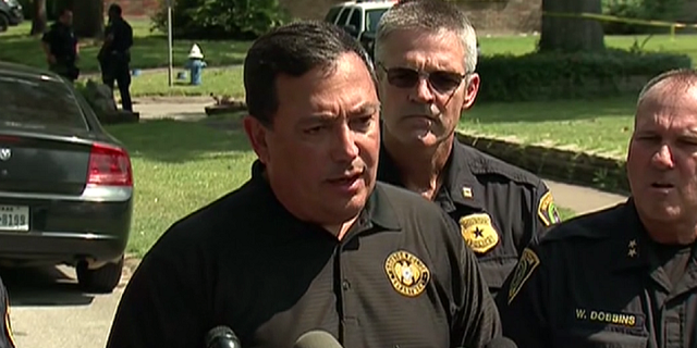 """Houston Police Chief Art Acevedo (pictured) declared """"This is our suspect"""" at a press conference less than an hour after Joseph Pappas, 62, shot himself near his home in Houston"""