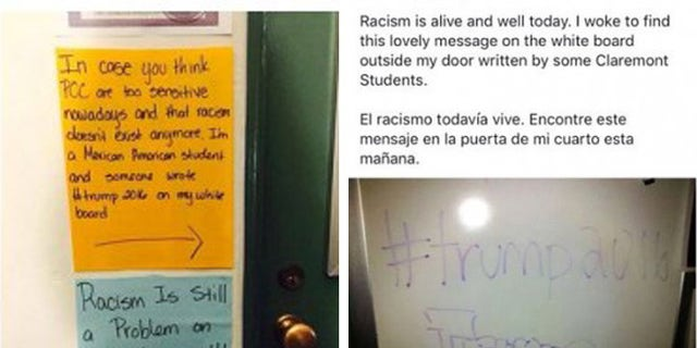 The notes on the door of the unidentified student's dorm, one purportedly written by her and the other by a Trump supporter.
